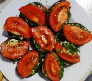 баклажаны, зелень, помидоры